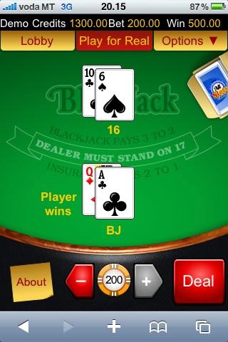 Blackjack på Kontrol